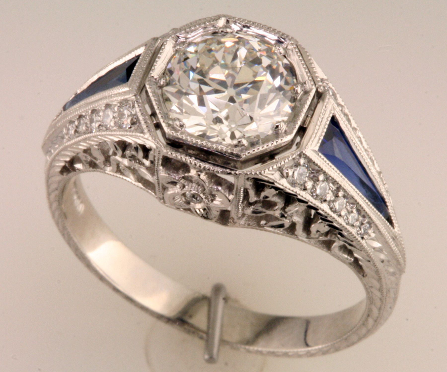 a one of a kind filigree engagement ring custom wedding rings The Finished Ring