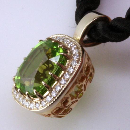 Side Detail, Custom Peridot Pendant