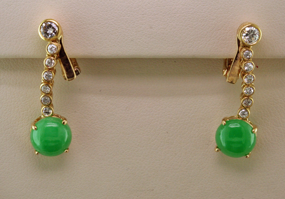 Jadeite&diamond earrings