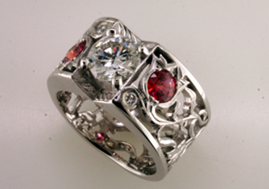 Diamond and Padparadscha Filigree Ring