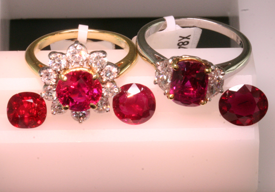 Fine Burma Rubies, Loose and Mounted