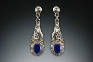 Lapis earrings, leaf style, fine silver- note the left and right!