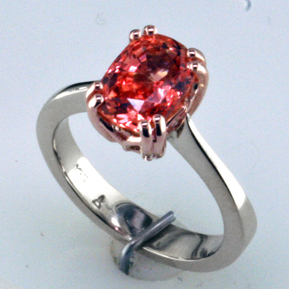 Padparadscha in Custom Rose & White Gold Engagement Ring