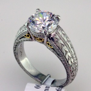 Cast and Fabricated Platinum and 18K Gold Solitaire, I-21599