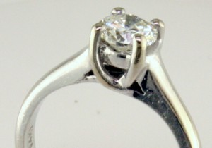 Cast Solitaire with cross over prongs, I-21941