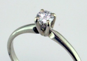 4 Prong Die Struck Platinum Solitaire, I-22140