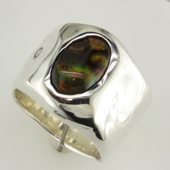 Silver Fire Agate custom ring