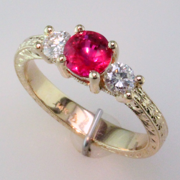 PigeonBlood Ruby Ring 3-4 view 1