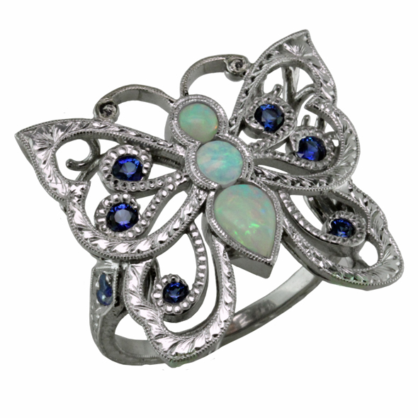 Opal and Sapphire butterfly ring