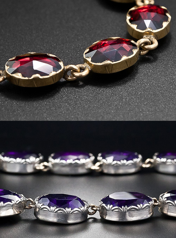 Upper- Garnet collets in gold, Victorian, Lower - Amethyst collets in silver, Georgian
