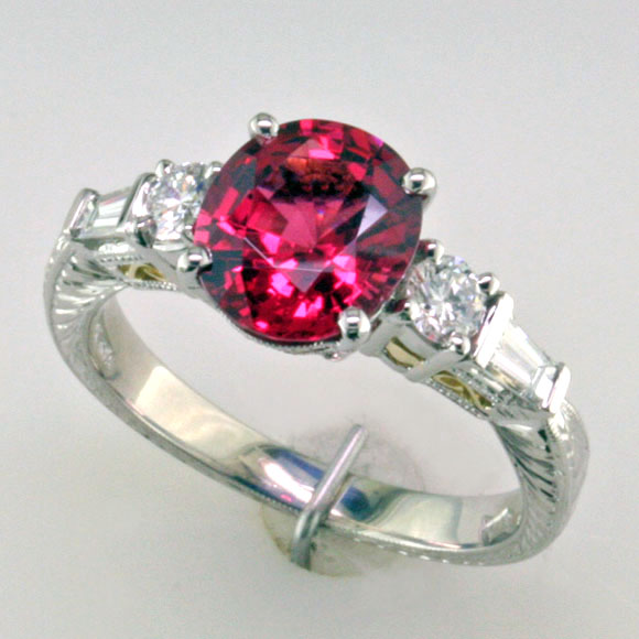 Spinel Filigree ring