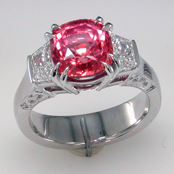 padparadscha custom ring