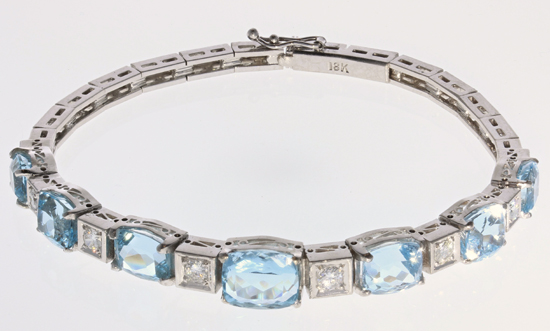 18kw Art Deco Aqua & Diamond Bracelet