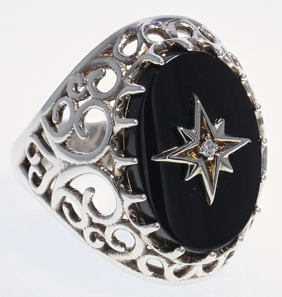 SS Black Onyx Filigree Ring