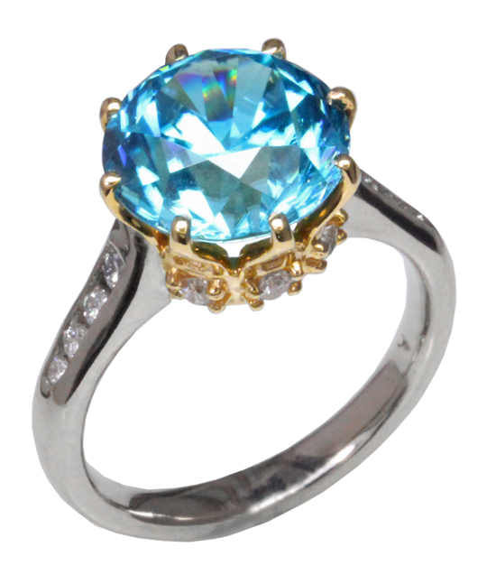 Blue Zircon and Diamond Crown Ring