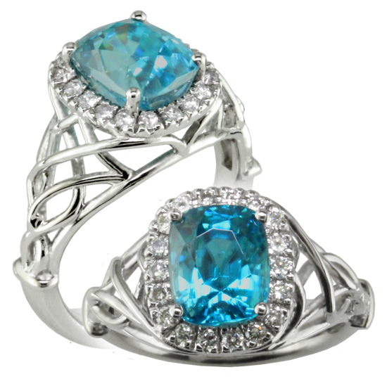 ring diamond zircon square victorian blue