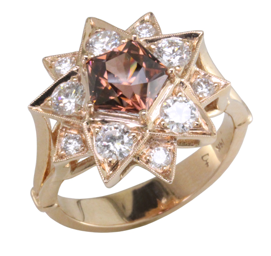 14k Zircon & Diamond Star Ring