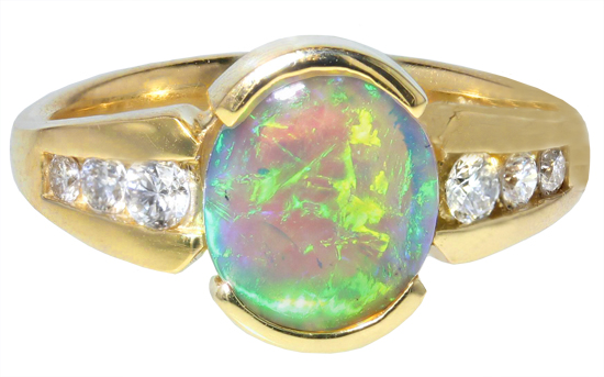 Crystal Opal & Diamond Ring