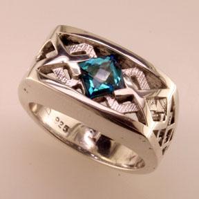 Custom Blue Topaz Mens Ring Mardon Jewelers
