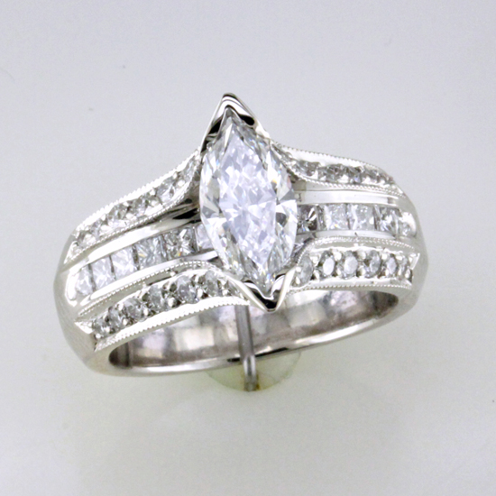 Custom Marquise Princess Round Diamond Ring