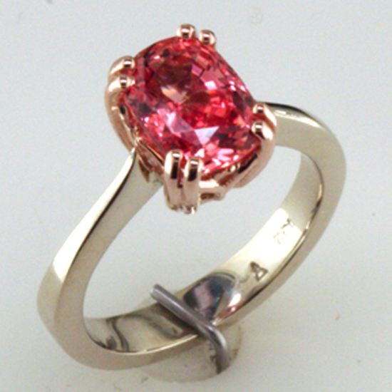 Custom Padparadscha Ring in Rose and White Gold
