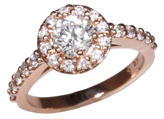 14k Rose Diamond Halo Ring