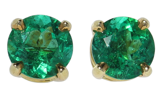 18ky Emerald Stud Earrings
