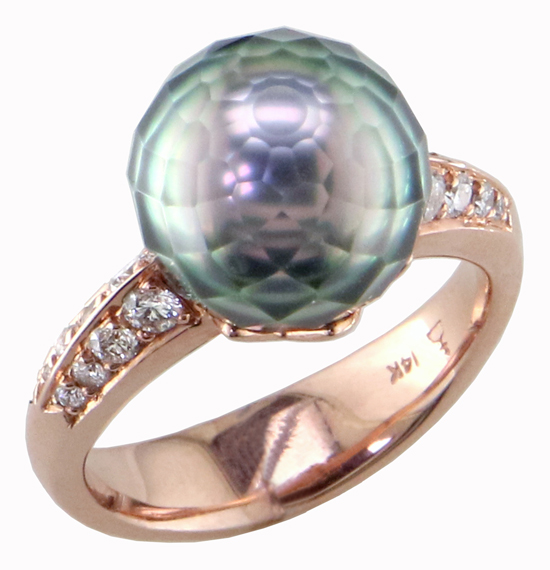 Faceted Pearl + Diamond Ring
