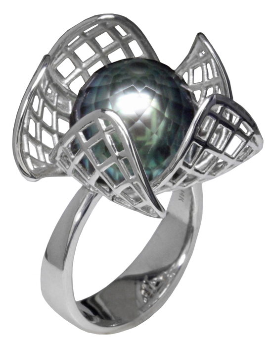 Faceted Tahitian Pearl Flower Ring