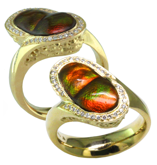 Fire Agate & Diamond Ring