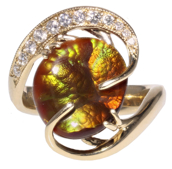 14ky Fire Agate + Diamond Ring