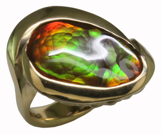 18ky Fire Agate Ring