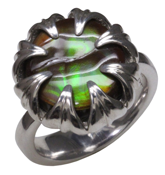 SS Green Fire Agate Ring