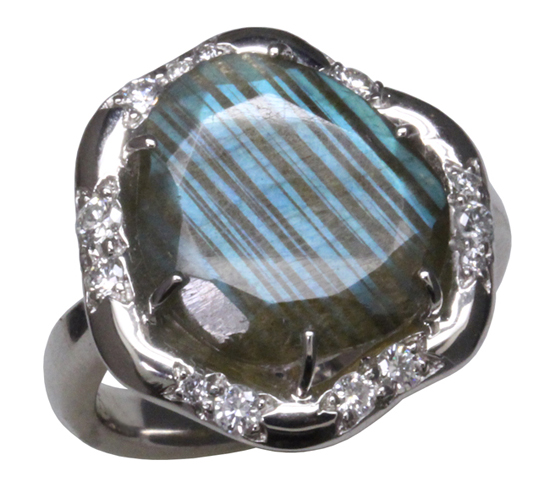 14kw Labradorite + Diamond Ring