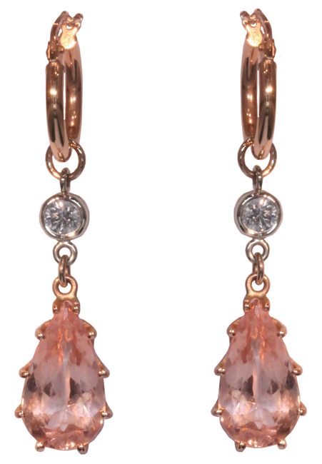 14k Morganite & Diamond Enhancer Earrings