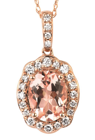 14k Morganite + Diamond Pendant