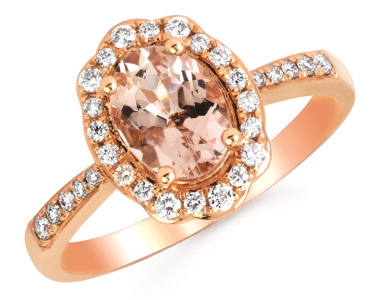 14k Morganite + Diamond Ring