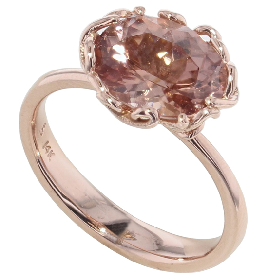 Peach Zircon Love Ring