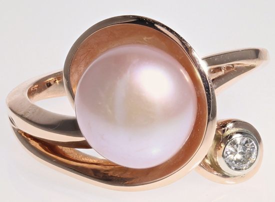 Cultured Pearl + Diamond Ring