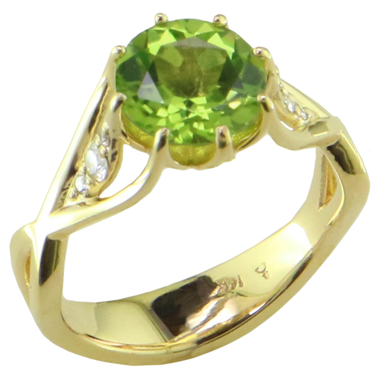 14k Peridot & Diamond Ring