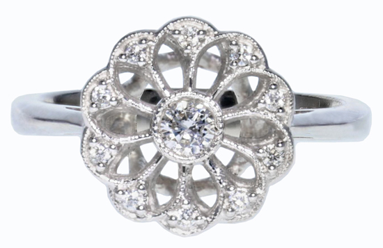 14kw Petite Diamond Halo Ring