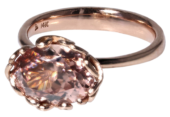 Pink Zircon Love Ring