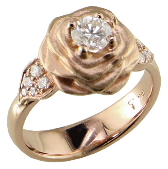 14k rose Rose Diamond Ring