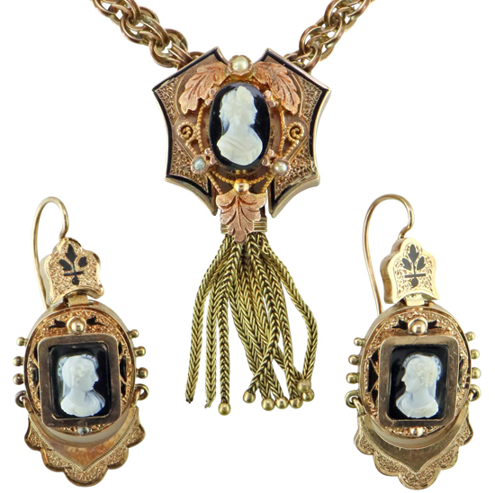 Victorian Cameo Necklace & Earrings