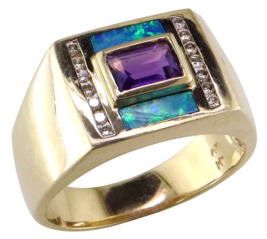 Vintage Amethyst + Opal Inlay Ring