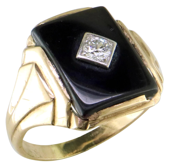 Vintage Onyx & Diamond Ring