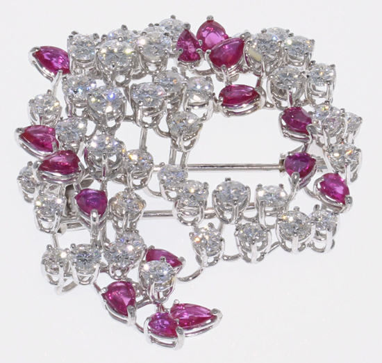 Vintage Diamond & Ruby Brooch