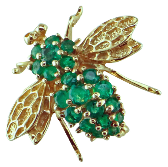 Vintage Emerald Bee Pin