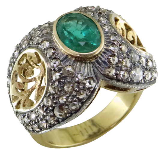 Vintage Emerald + Diamond Ring