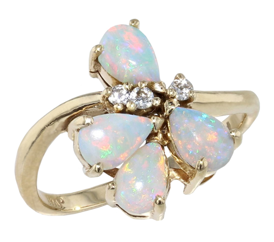 Vintage Opal + Diamonds Ring